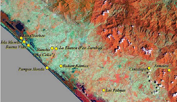 Satellite image of the Pacific coastal areas studies for Venezuelan equine encephalitis virus activity (Landsat thematic mapper). Bands 4, 5, and 1 are displayed as a red-green-blue false-color composite. The villages sampled are indicated in yellow.