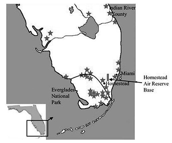 Map of South Florida, indicating locations of Everglades virus isolation, human cases or antibody detection (stars), and our cotton rat collection site (box). Dark line delineates national park boundary.