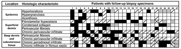 Individual histologic responses of the 27 patients with follow-up biopsy specimens who participated in a lymphedema management program for ≈1 year. Black boxes indicate histopathologic regression or improvement, gray boxes indicate histopathologic progression or worsening, white boxes indicate the absence of histopathology in either biopsy, and boxes with a diagonal line indicate that histopathology was observed on both initial and follow-up biopsies. Boxes with an X indicate insufficient data.