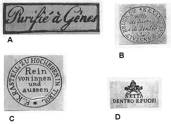 Various cachets from 19th-century envelopes. A) Genoa, 1813; B) Austria, 1830–1869; C) Vienna, 1831–1832; D) papal insignia (18).