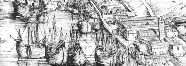 Ships docking at the <italic>Lazzaretto Vecchio</italic>, Venice, 14th century.