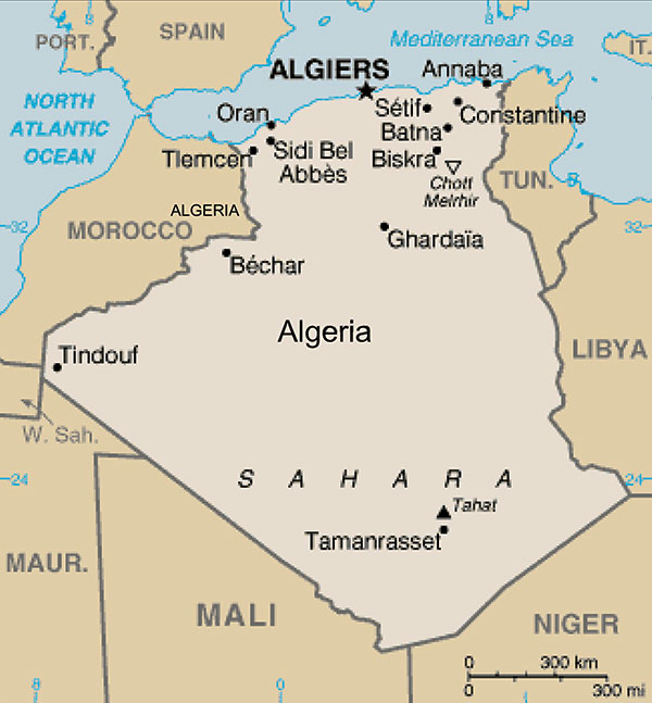 Map of Algeria. Courtesy of Wikipedia Encyclopedia (http://en.wikipedia.org/wiki).