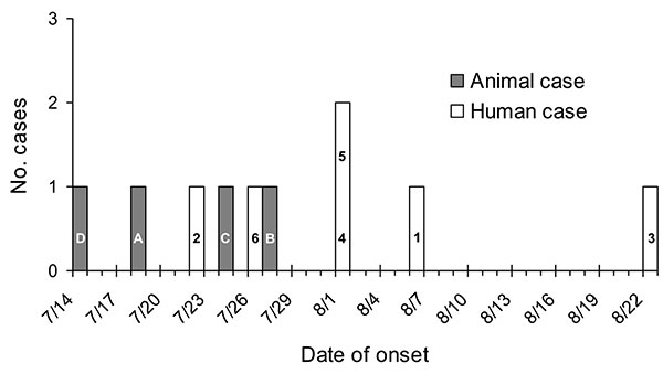Epidemic curve of onset dates for human salmonellosis cases (white bars) and animal cases (gray bars). Numbers 1–6 refer to human cases, letters A–D refer to animal cases (see text).