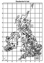 Thumbnail of Distribution of Daubenton bats in the United Kingdom and Ireland showing 5 cases of infection with European Bat lyssavirus type 2 (EBLV-2). Open circles are sites where Daubenton's bats were observed away from their roosts, and the closed circles are roosts of Daubenton bats (summer and winter). The 5 numbered gray circles are sequential sites where EBLV-2–positive cases were found. Reprinted with permission of The Bat Conservation Trust (London, United Kingdom) from Distribution of