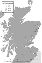 Thumbnail of Bat sampling locations in southern and eastern Scotland. The circles indicate both the location (number) and an estimate of the number (size) of bats sampled.