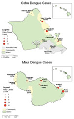 Thumbnail of Autochthonous dengue infections, Maui and Oahu, Hawaii, 2001–2002.