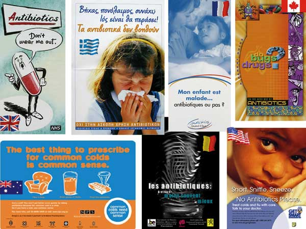 Posters from nationwide educational campaigns against misuse of antimicrobial drugs.