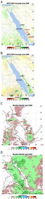 Thumbnail of  Figure A1. Systeme Probatoire pour l'Observation de la Terre vegetation sensor 1 km normalized difference vegetation index (NDVI) anomaly images of the Arabian Peninsula region during June 2000 (A) and June 2005 (B). Data are the percentage deviation from the long-term mean calculated for the period January 1999–June 2005 in NDVI units. A value of zero indicates that current values are identical to the 1998–2005 mean. Rift Valley fever virus was isolated in the Al Qunfuda, Asir, an