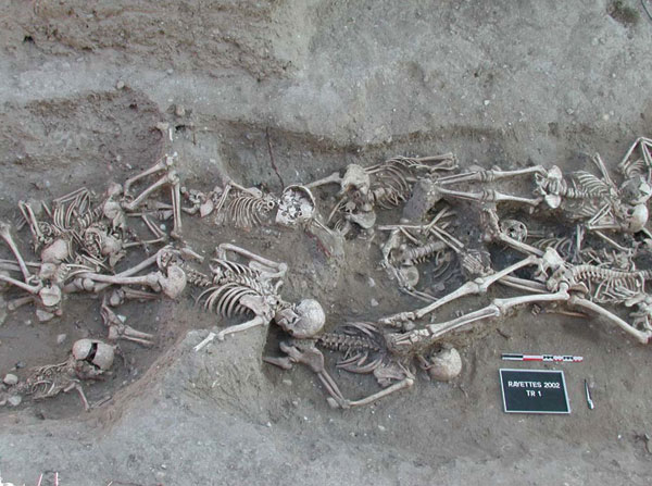 Skeletons from a mass grave in Martigues, 1720–1721, yielded molecular evidence for the Yersinia pestis Orientalis biotype. Photograph: S. Tzortzis