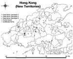 Thumbnail of Map of Hong Kong showing the locations of the 22 infected farms (16 case-control study and 6 nonparticipant farms), 46 control farms, and 78 other unaffected farms active during the 2002 outbreak of highly pathogenic avian influenza A virus (subtype H5N1).