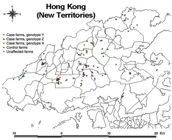 Map of Hong Kong showing the locations of the 22 infected farms (16 case-control study and 6 nonparticipant farms), 46 control farms, and 78 other unaffected farms active during the 2002 outbreak of highly pathogenic avian influenza A virus (subtype H5N1).