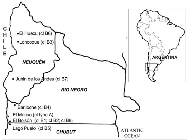 Figure 1 - Geographic origin of clusters (cl) of Andes virus cases, southern Argentina.
