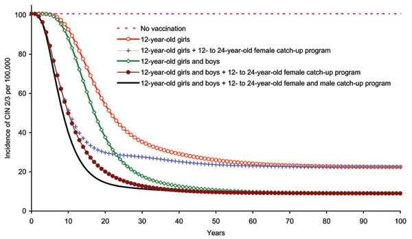 Incidence of cervical intraepithelial neoplasia (CIN) 2/3 due to human papillomavirus 6/11/16/18 infection among girls and women >12 years of age, by vaccination strategy.