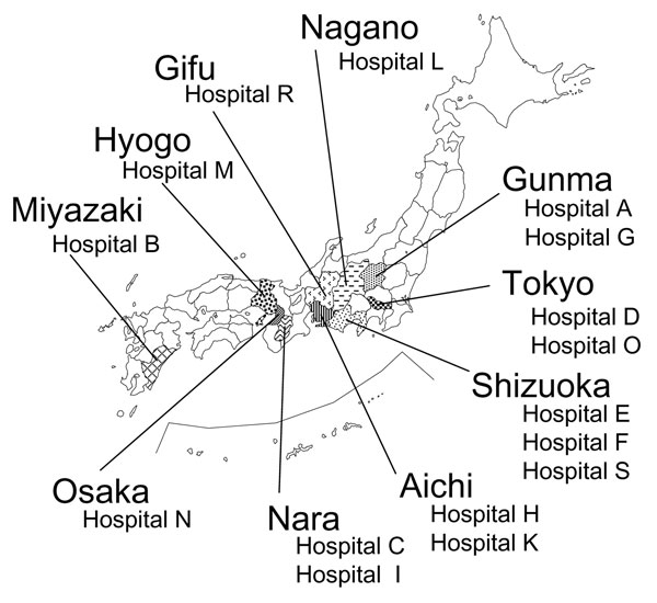 Geographic distribution of hospitals where 16S rRNA methylase gene–positive strains were isolated. Of 16 hospitals, 8 were located in the Kanto area (Gunma, Tokyo, Shizuoka, and Nagano), 3 in the Chubu area (Aichi and Gifu), 4 in the Kinki area (Osaka, Nara, and Hyogo), and 1 in the Kyushu area (Miyazaki). This distribution suggests a sparse but diffuse spread of 16S rRNA methylase–producing, gram-negative pathogenic microbes in Japan. Bacterial species and type of 16S rRNA methylase identified in each hospital are shown in Table 3.