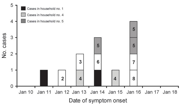 Epidemic curve of Nipah virus outbreak in Goalando, Bangladesh, in 2004, demonstrating household clustering. Households 1 and 4 each had 2 cases, household 5 had 3 cases, and all other households, single cases.