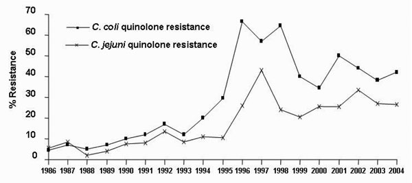 Quinolone resistance of human Campylobacter jejuni and C. coli; France, 1986–2004.