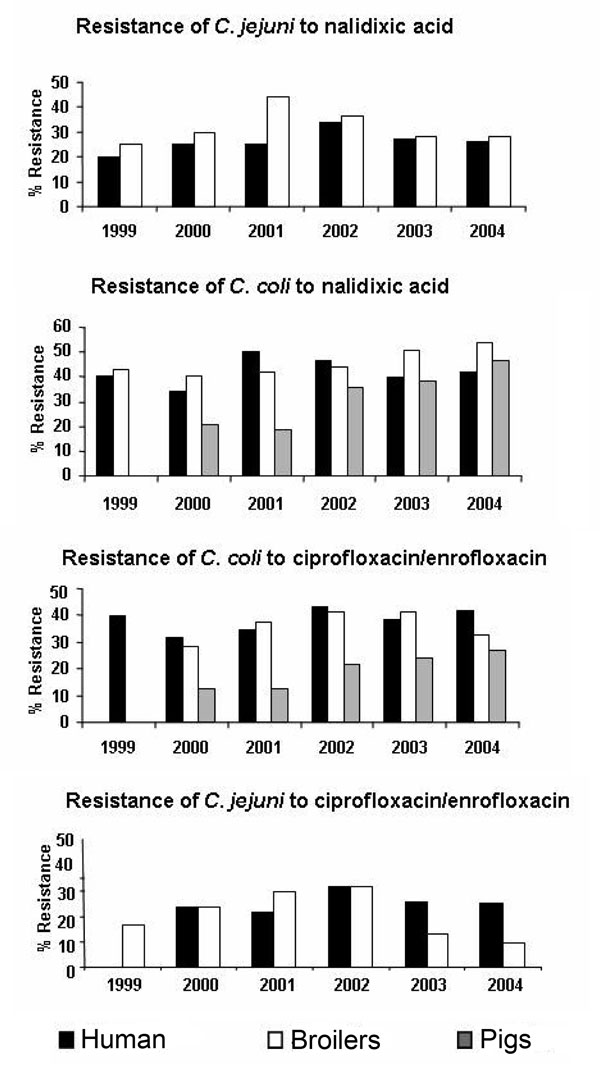 Resistance of Campylobacter jejuni and C. coli to nalidixic acid and ciprofloxacin in humans, broilers, and pigs, France, 1999–2004.
