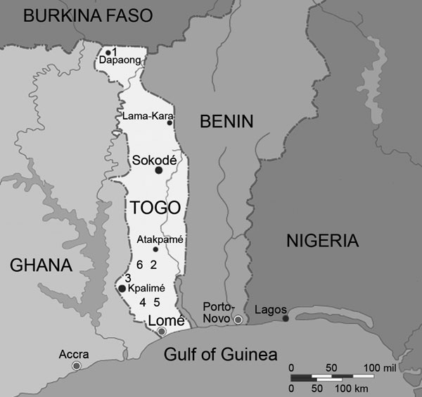 Locations of clinics in Togo involved in the study: 1, Dapaong; 2, Sodo; 3, Kpalimé; 4, Agou; 5, Bethesda; 6, sites of the community study in the Sodo region (adapted from www.maps.com).