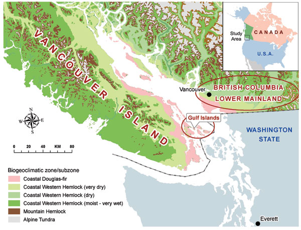 Biogeoclimatic and geopolitical boundaries within British Columbia.