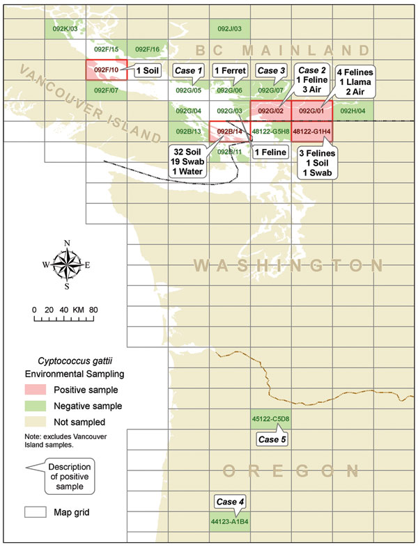 Location of human and animal Cryptococcus gattii cases and positive environmental samples found off Vancouver Island.