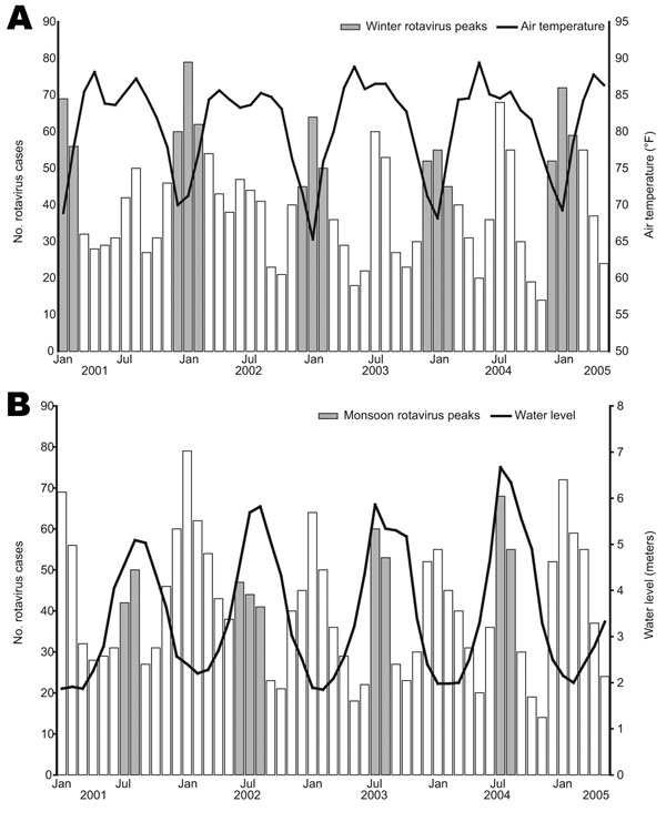 Correlation between cases of rotavirus diarrhea and air temperature and water level in Dhaka, Bangladesh, January 2001–May 2005.