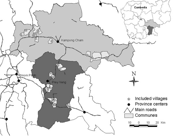 Distribution of selected communes in Kampong Cham and Prey Veng provinces, Cambodia, 2006.