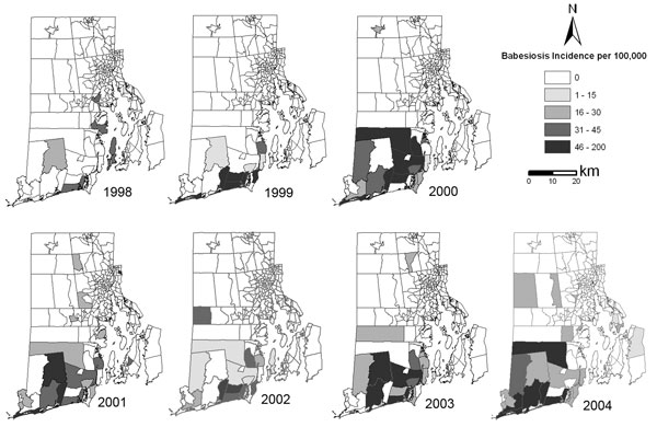 Human babesiosis incidence per census tract, Rhode Island, USA, 1998–2004. Data from Rhode Island Department of Health