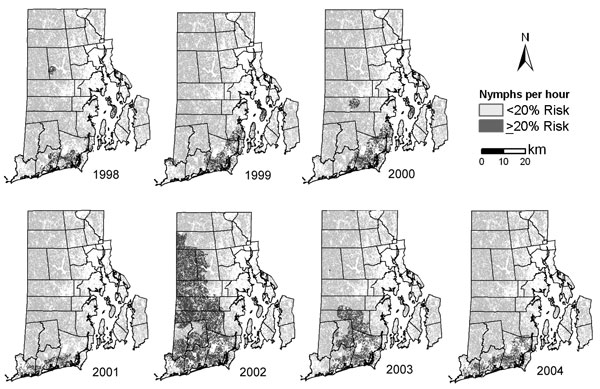 Risk for human case of babesiosis, Rhode Island, USA, derived from simple logistic regression analysis of census tracts with and without babesiosis cases (Figure 1), predicted by average Ixodes scapularis nymphs collected per hour per census tract. The cut-off level for the 2 classes was decided by the number of nymphs collected per hour needed to create a 20% probability of a babesiosis case occurring in a census tract. The continuous nymphal tick abundance surface was modified to subtract area