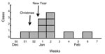 Thumbnail of Distribution of patients with Yersinia enterocolitica 0:9 infection (n = 11) by week of onset, Norway, December 2005—February 2006.