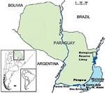Thumbnail of Misiones Province, Argentina, and eastern Paraguay, where cases of hantavirus pulmonary syndrome have occurred and rodents were trapped for testing.