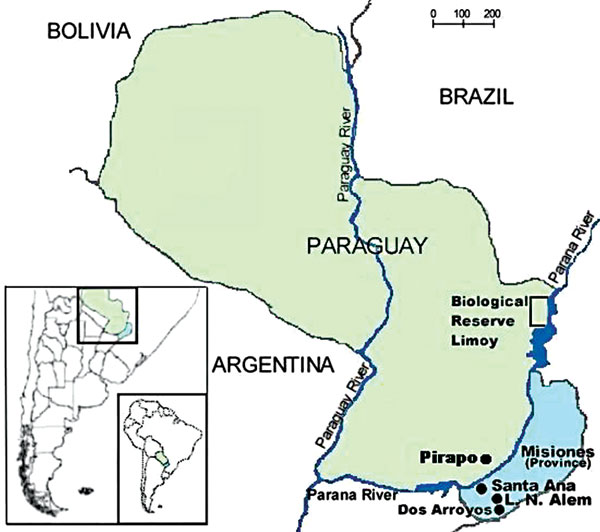 Misiones Province, Argentina, and eastern Paraguay, where cases of hantavirus pulmonary syndrome have occurred and rodents were trapped for testing.