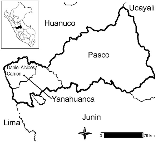 Map of the Central Peruvian Highlands.