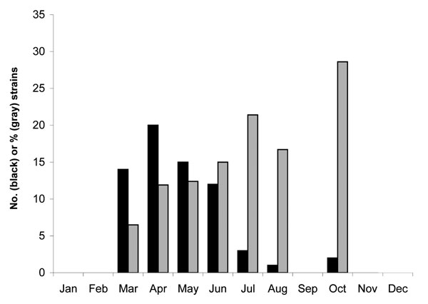 Temporal distribution of serotype G12 human rotaviruses in Budapest, Hungary, 2005. Black columns indicate the number (N) of strains identified; gray columns represent the percentage of total strains for each month that were type G1.