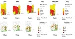 Thumbnail of Distribution of Buruli ulcer cases at regional and village levels, Benin.