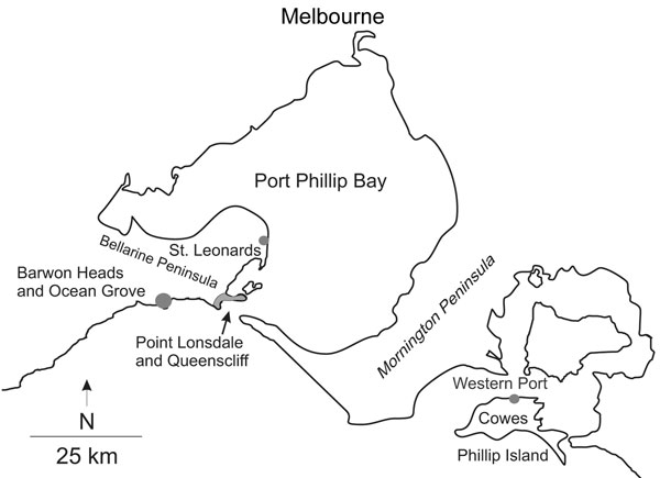 Map of central coastal Victoria, Australia, showing towns and places referred to in the text or in associated references.