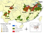 Thumbnail of Regional distribution of schistosomiasis prevalence rates (%) in villages sampled in the second national survey, People's Republic of China, 1995.