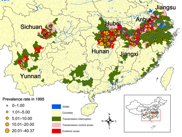 Regional distribution of schistosomiasis prevalence rates (%) in villages sampled in the second national survey, People's Republic of China, 1995.