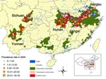 Thumbnail of Regional distribution of schistosomiasis prevalence rates (%) in villages sampled in the third national survey, People's Republic of China, 2004.