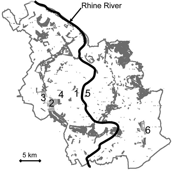 City of Cologne, showing its corridor of wooded public parks (shaded area) and the location of the exposure sites in the Stadtwald stadium area: 1, Cologne cathedral; 2, Stadtwald; 3, RheinEnergie Stadium; 4, university; 5, trade fair; 6, airport.