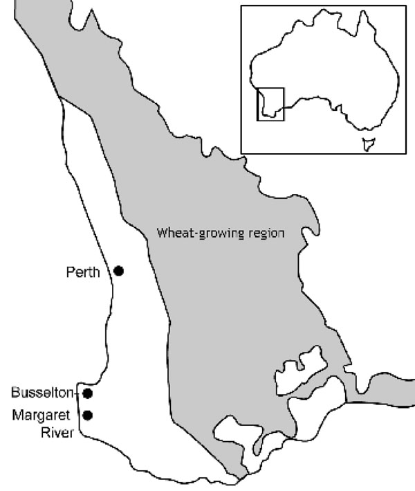Wheat-growing region and Busselton-Margaret River region of Western Australia.