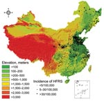 Thumbnail of Topographic map of the People's Republic of China, showing relationship between elevation and incidence of hemorrhagic fever with renal syndrome (HFRS).