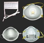 "Thumbnail of Noncertified masks and certified respirators. A surgical mask (upper left) and a dust mask (lower left) are examples of disposable masks that are not designed to filter small particles and that are not certified by the National Institute for Occupational Safety and Health (NIOSH). The disposable N95 filtering facepiece respirators pictured on the right (with exhalation valve, upper right; without exhalation valve, lower right) are made of material certified by NIOSH to filter 95% of 0.3-μm diameter particles and bear the NIOSH name and ""N95"" filter identification. The European FFP2 respirator is most analogous to the N95 filtering facepiece respirator. NIOSH also certifies more expensive reusable respirators (not pictured), which can be fitted with disposable cartridges that filter particles. Reusable respirators may cover the face from the bridge of the nose to the chin (half-face) or from the forehead to the chin (full-face)."