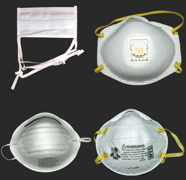 "Noncertified masks and certified respirators. A surgical mask (upper left) and a dust mask (lower left) are examples of disposable masks that are not designed to filter small particles and that are not certified by the National Institute for Occupational Safety and Health (NIOSH). The disposable N95 filtering facepiece respirators pictured on the right (with exhalation valve, upper right; without exhalation valve, lower right) are made of material certified by NIOSH to filter 95% of 0.3-μm diameter particles and bear the NIOSH name and ""N95"" filter identification. The European FFP2 respirator is most analogous to the N95 filtering facepiece respirator. NIOSH also certifies more expensive reusable respirators (not pictured), which can be fitted with disposable cartridges that filter particles. Reusable respirators may cover the face from the bridge of the nose to the chin (half-face) or from the forehead to the chin (full-face)."