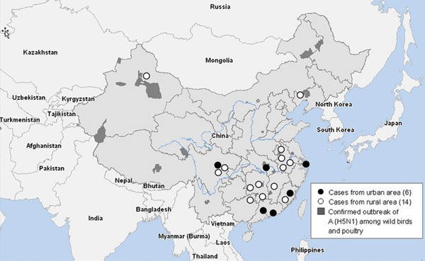 Map showing distribution of 6 human influenza (H5N1) cases from urban areas of People's Republic of China, compared with 14 cases from rural areas. The 6 urban cases were distributed sporadically in 6 large cities of 5 provinces, and none was associated with confirmed H5N1 subtype poultry outbreaks or sick and dead poultry.