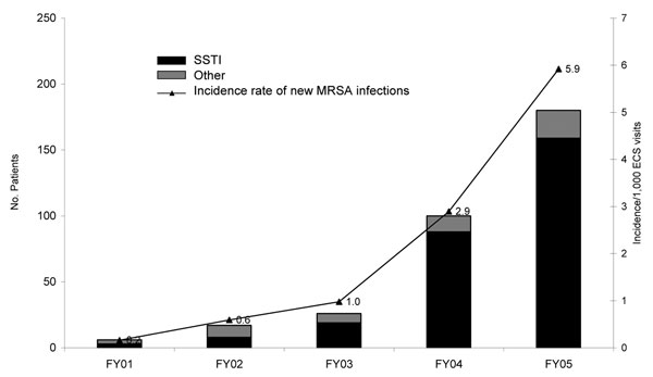 Methicillin-resistant Staphylococcus aureus (MRSA) infections in patients without a history of MRSA per 1,000 visits to the Baltimore Veterans Affairs Medical Center Emergency Care Service (ECS), 2001–2005. SSTI, skin and soft tissue infection; FY, fiscal year. FY01–03 versus FY04, χ2 test, p<0.001.