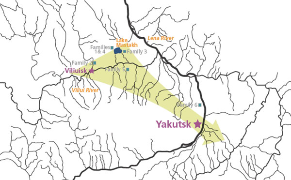 Location of families with Viliuisk encephalomyelitis characterized in this report. Arrow indicates the general direction of Viliuisk encephalomyelitis dispersion from traditional disease-endemic areas on the Viliui River to densely populated regions of the Sakha (Yakut) Republic around the capital city of Yakutsk.
