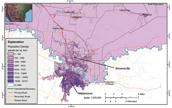 Map of Brownsville, Texas, and Matamoros, Mexico, contiguous cities on the US–Mexico border. Source: US Geological Survey; available from http://borderhealth.cr.usgs.gov/staticmaplib.html