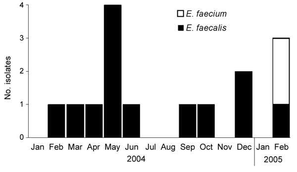 Occurrence of linezolid-resistant Enterococcus faecalis and E. faecium in hospital A, Tennessee, January 2004–February 2005 (N = 15).
