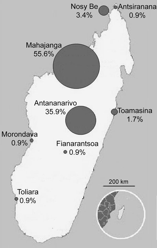 Map assessing the potential risk for spread of Plasmodium falciparum mutant-type alleles associated with resistance to chloroquine and pyrimethamine from the Comoros Islands to Madagascar, Mahajanga, Madagascar, 2006.
