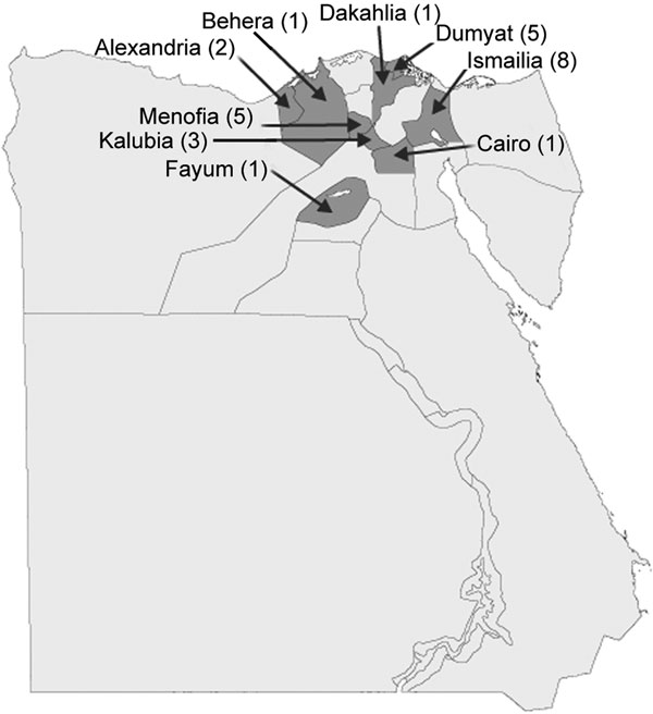 Locations and number of cases in the initial outbreaks of foot-and-mouth disease, Egypt, 2006.
